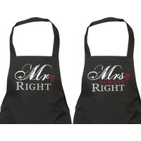 Couples Aprons Mr Right Mrs Always Right Gift Apron Present House Warming Wedding Engagement Birthday Christmas Pair - Seek Gifts