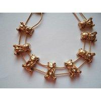 Vintage Unsigned Goldtone Teddy Bears Slide Bracelet - Teddy Bears Gifts