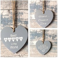 Wooden Heart, hanging heart, Rustic, Shabby Chic, House warming, Love, Always look on the bright side of life, Mummy, Wish it Dream it Do it - Warming Gifts