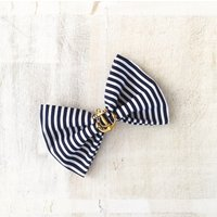 Rockabilly Pin up Navy Blue  White stripe Nautical Sailor Hair Bow Clip with Gold Anchor - Hair Gifts