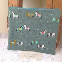 Horse fabric quilted zipper pouch case suitable for tablet, kindle, other electronic device / pencil case /zip bag - Electronic Gifts