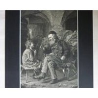 1880s Antique Ludwig Knaus Print of the Wisdom of Solomon, Available Framed German Art Wise Man Smoking Pipe Gift Grandfather Portrait Decor - Smoking Gifts