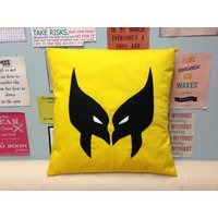 WOLVERINE  Yellow Retro Xmen Superhero Cushion Pillow Cover Black Felt Mask Design Kids Childrens Boys Bedroom Comic Con 14 16 18 20 Size - Wolverine Gifts