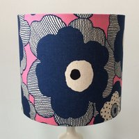 Blue  Pink Floral, 20cm Dia Lampshade, Floral Lampshade, Light Shade, Lampshade UK, Drum Lampshade, Table Lampshade, Bedside Lamp - Floral Gifts