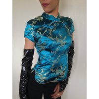 Vtg 90s ORIENTAL BLOSSOM teal with golden embroidered cherry flowers satin blouse top S - Oriental Gifts