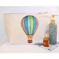Hot Air Balloon Canvas Wash Bag, Large Zipper Pouch, Makeup Bag, Toiletry Bag, Accessory Bag - Hot Air Balloon Gifts