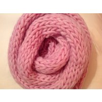 Pure Wool  Washable, Bouncy, light and soft, Pretty Pink, Hand Knitted, Classic Design, Chunky Wool Scarf, Cosy and long, - Bouncy Gifts