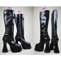 90s Black Patent Leather Suede Floral Wavy Heel Platform Knee Boots UK 3 / US 5.5 / EU 36 - Floral Gifts