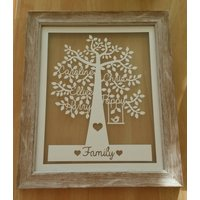 Personalised Family Tree Paper Cut Gift Framed, Birthday Gift, House Warming Gift, Personalized Tree, Nan Mum Mom Gift, Christmas gift xmas - Warming Gifts