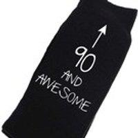 90th Birthday Socks Mens Black Socks 90 and Awesome Present Birthday Dad Grandpa Uncle - 90th Birthday Gifts