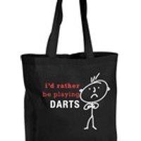 Mens Shopping Bag Id Rather Be Playing Darts Reusable Black Shopper Funny - Darts Gifts