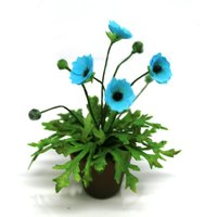 OOAK Oriental Blue Poppy  12th ScaleCold Porcelain Flowers Dolls House MiniatureFairy GardenHandmade Miniature - Oriental Gifts