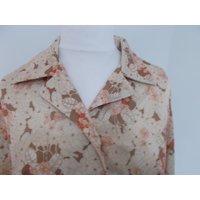 Vintage shirt blouse 60s beige floral print long sleeve  size large x large - Floral Gifts