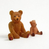 Vintage Miniature Teddy Bears, Carved Wood, Mother Bear and Cub - Teddy Bears Gifts