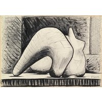 HENRY MOORE  Reclining figure  original pen  ink drawing  c1970s (Important 20th Century artist. Patek Philippe lifestyle) - Artist Gifts