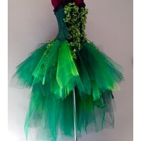 Poison Ivy Katy Perry inspired Burlesque Tutu Skirt and Corset with Silk Ivy Leaves Please chose size at checkout - Katy Perry Gifts