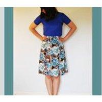 Vintage, Blue, Floral, ALine, Summery Skirt, Size 12 - Floral Gifts