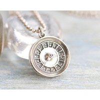 Roulette Wheel Necklace  Sterling Silver Medallion on Chain  Made in Italy - Roulette Gifts