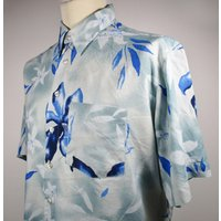 80s Vintage Mens Blue Hawaiian Shirt LARGE 46 Chest (4446) Retro Floral Print Quality Vintage Menswear - Floral Gifts
