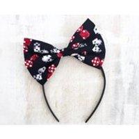 Black, Red  White Dice Print Hair Bow Headband  Tattoo Vegas  Pin up  Rockabilly - Hair Gifts