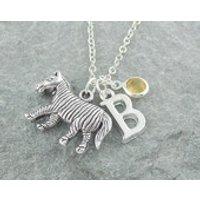 Zebra necklace, personalized jewelry, initial necklace, swarovski birthstone, silver chain, for her, animal jewelry, birthstone necklace - Zebra Gifts