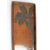 Antique Arts and Crafts leather and pewter tray. American Austrian ? - Arts And Crafts Gifts