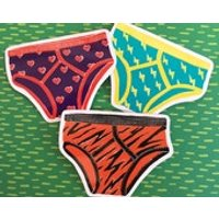 Vinyl Sticker Set  3 Pairs of Fancy Pants, Laptop Decals, Phone stickers, linocut, lino print, Y fronts, Underwear, Tiger Print, - Computers Gifts