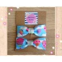 Hair bows, blue hair bows, girly hair bows, handmade hair accessories, baby hair bows, hot air balloon accessory, blue ribbon bows, cute bow - Hot Air Balloon Gifts