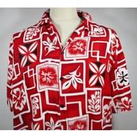 80s Vintage Mens Red  White Hawaiian Shirt LARGE 46 Chest (4446) Retro Floral Print Quality Vintage Menswear - Floral Gifts