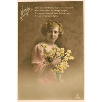 Hand coloured real photograph postcard RPPC, Birthday Greetings with poem, girl and flowers, vintage postcard, sentimental birthday card - Sentimental Gifts