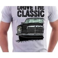Clasic Retro Mercedes W114/115  Late Model Tshirt White. Original hand drawn design. - Mercedes Gifts