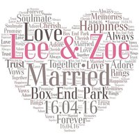 Personalised Heart Word Art Print Any Occasion Wedding Engagement Birthday Love A4 - Seek Gifts