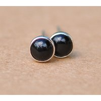 Black Onyx earrings handmade with Sterling Silver studs, 4mm Mysterious black cabochon gemstone and silver stud earrings, gift, 925 jewelry - Handmade Gifts