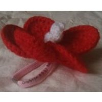 Knitted crochet hair tie bobble red hibiscus tropical flower Hello Kitty elastic hair tie bobble band Polynesian Hawaiian Fijian exotic - Hawaiian Gifts