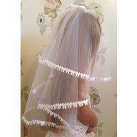 Girls White Confirmation Veil, Girls Accessories, Holy Communion with Satin Bows religious even - First Holy Communion Gifts