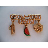Vintage Signed Danecraft Goltone Grow Your Own Dangler Brooch/Pin - Grow Your Own Gifts