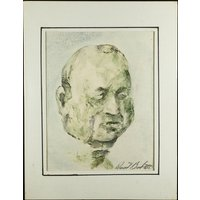 RICHARD BENEDETTI  Le Commissaire  original surrealist painting  c1960s (listed 20th Century American artist  Salvador Dali protege) - Artist Gifts