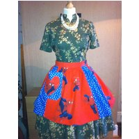 Spider Man Hero Vintage style Dolly Does Vintage Apron and blue Stars Fabric Half Pinny Apron for all  Retro, Vintage Lovers - Spider Man Gifts