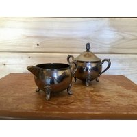 Art Nouveau Sugar Bowl and Creamer Jug Silver Plate Edwardian Arts and Crafts Vintage Kitchen Dining Serving - Arts And Crafts Gifts