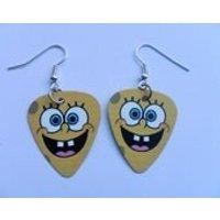 Handmade Spongebob Squarepants Double Sided Guitar Pick // Plectrum Silver Earrings - Spongebob Squarepants Gifts
