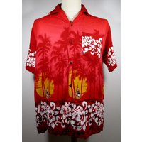 80s Vintage Mens Red  Orange Hawaiian Shirt SMALL 38 Chest (3638) Retro Sunset / Floral / Sail Boat Print Quality Vintage Menswear - Floral Gifts