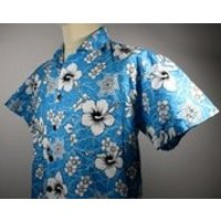 80s Vintage Mens Blue  White Hawaiian Shirt SMALL 38 Chest (3638) 100% Cotton  Retro Floral Print Quality Vintage Menswear - Floral Gifts
