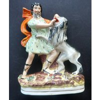 Fabulous Antique Staffordshire Figurine. The Lion Tamer, Van Amburgh, c 1850s - Lion Gifts