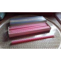 Vintage 50s 60s candy floss pink Colonial Colonial Twist slim Candles 10  12 candles - Seek Gifts