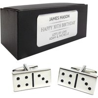Dominoes CUFFLINKS 30th, 40th, 50th, 60th, 70th birthday gift, presentation box PERSONALISED ENGRAVED plate  097 - 70th Birthday Gifts