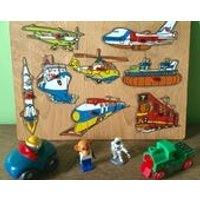Wooden Puzzle Jigsaw Vehicles Transport Train Planes Rocket Boat Helicopter. Fisher Price Style. Transportation Toddler Sorting Game. Blocks - Jigsaw Gifts