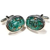 Groom Cufflinks Christmas Gift For Him Green Cufflinks Copper Cufflinks Circuit Board Cufflinks Engineers Gift Electronic Accessory - Electronic Gifts