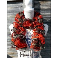 HALF PRICE SALE!  Ruffle scarf, flouncy, bouncy, frilly, boa, boho, festival, party season, orange, olive and brown - Bouncy Gifts