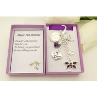 Personalised happy 16th birthday purple dragonfly lucky sixpence, charm, keyring, personalised gift box, choice of heart and number charm - 16th Birthday Gifts