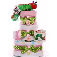 The Very Hungry Caterpillar Nappy Cake Girl, nappy cake gift baby girl, maternity leave gift, baby shower gift, large nappy cake - The Very Hungry Caterpillar Gifts